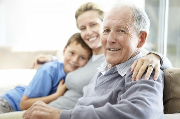 family with elderly man
